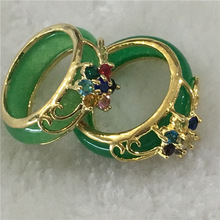 Hot sale new Style >>>2PCS Hand Carvings Green Jades Ring
