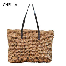 Women Straw Beach Bag Durable Weave Female Bucket Handbag Casual Knitting Rattan Tote Hobos Bags Feminine Shoulder bags SS0294(China)