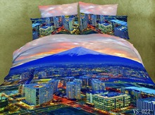 2017 Hot Sale Special Offer 7 Pcs 50 Beauty City Bedding Sets 7-piece Sunset 3d Duvet Cover Bed Sheets Pillowcases Super Size