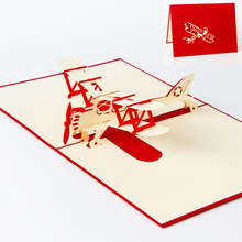 3D Paper Laser Cut Carving Aircraft Plane PostCard Greeting Cards Business Party Invitation Card Children Kids Creative Gift