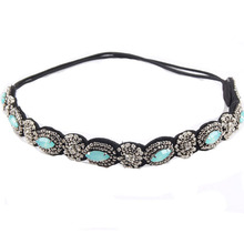 Vintage Bohemian Ethnic Turquoise Metal Beads Flower Crystal Rhinestone Handmade Elastic Headband Hair Band Hair Accessories(China)