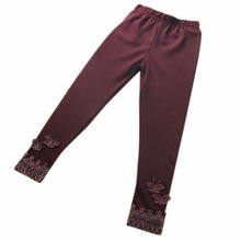 Kids Baby Butterfly Lace Warm Pants Girl Stretchy Leggings Toddler Trousers