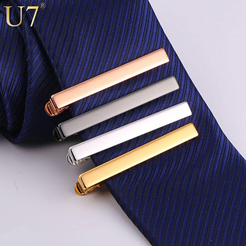 U7 Tie Clip Set 4PCS Classic Simple Style Gold/Rose Gold/Black/Silver Color Male Business Necktie Clip Clasp Men Jewelry TC001(China (Mainland))