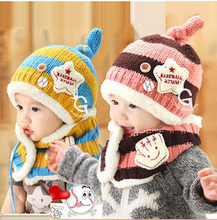 knitted cap + scarf Fashion Handmade Infant Baby Knit Costume Beanies Newborn Photography Prop Crochet Shirt Hat Cap girl