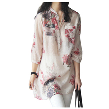 MAKE Hot Women Fashion Blouses Women's Spring Summer Women Blouses Blouse Casual Floral Print Long Blouse Tops Shirt Plus Size(China)