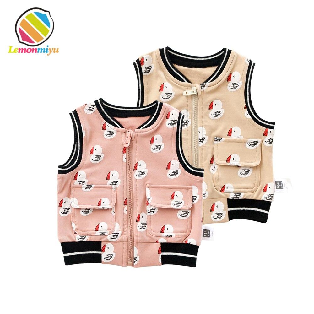 Boys Girls Fall Zipper Vest Waistcoats Children Sleeveless Cartoon Jackets Coats 1st Kids Infant Baby Boys Cute Children Clothes