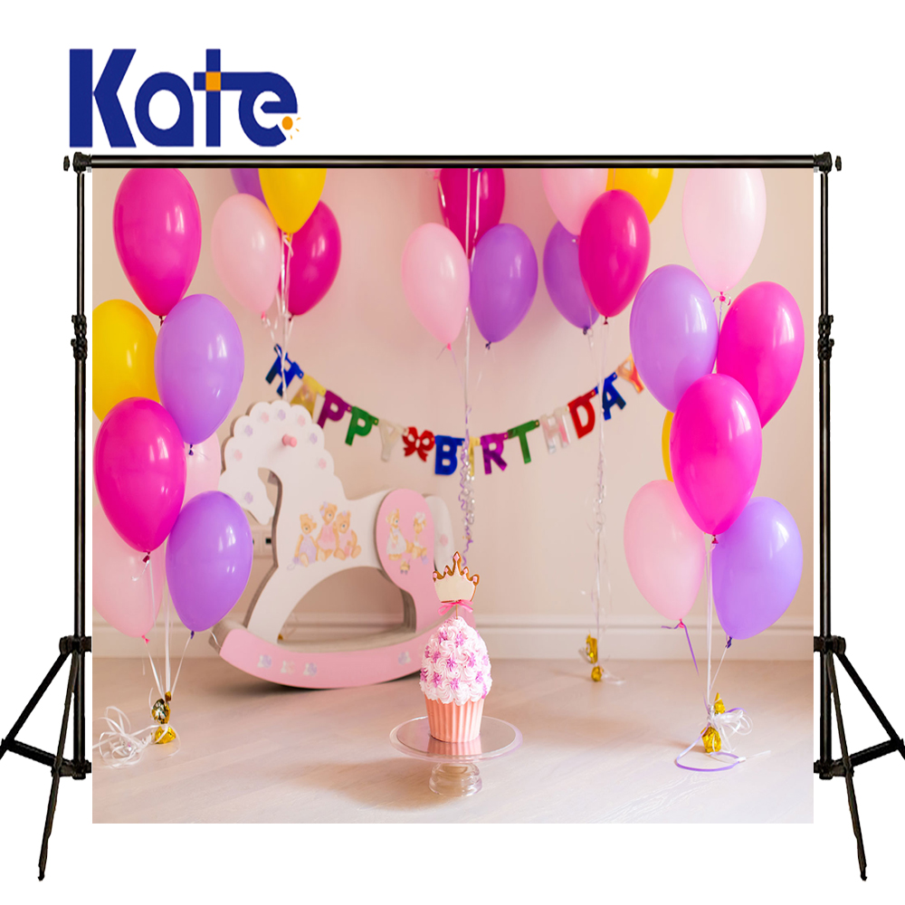 10x10ft Kate Pink Globos Backdrop Baby Birthday Convites Newborn Photography Background Fairy Tale Photo for Photocall Baby<br>