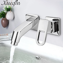 Xueqin Chrome Hot/Cold Two Hole Mixer Sink Water Faucet Single Handle Water Mixer Tap Bathroom Fixture Basin Faucets(China)