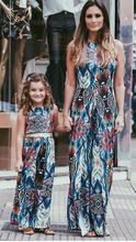 New 2017 sleeve mother daughter Bohemia design dresses Family Matching clothes Mom and daughter dress Family look outfits(China)