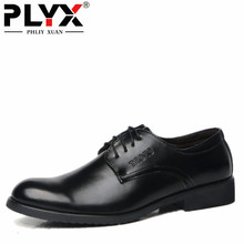 PHLIY XUAN New 2017 Fashion Men Dress Shoes Black Leather Pointed Toe Male Business Shoes Lace-Up Men Falt Office Shoes(China)