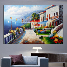 NO FRAME Printed Window to the Mediterranean landscape Oil Painting Canvas Prints Wall Art Pictures For Living Room Decorations