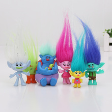 6Pcs/Set 2-6cm Dreamworks Trolls Movie Figure Collectible Dolls Poppy Branch Biggie PVC Trolls Action Figures Doll Toy