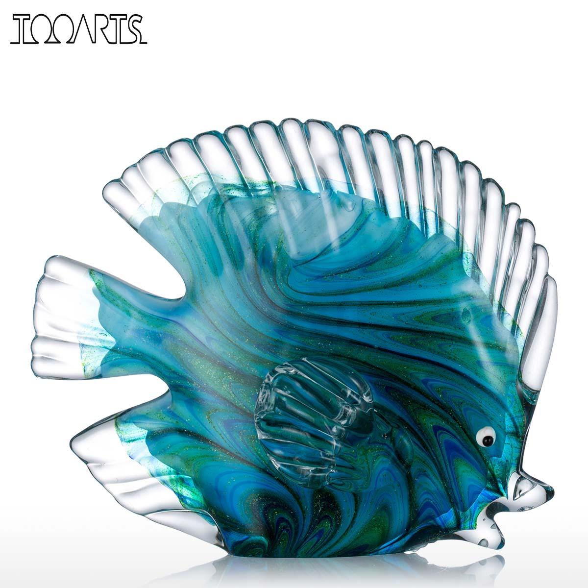 Tooarts Blue Glass Statuettes Tropical Fish Figurine Home Decor Art Animal Artificial Craft Gift For Home Decoration Accessories(China (Mainland))