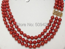 Wholesale>>>genuine 100% natural 8mm 3row red sponge coral necklace