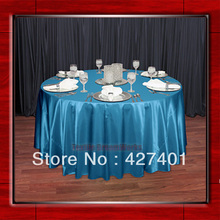 "Hot Sale Teal Shaped Poly Satin Table Cloth Wedding Meeting Party Round Tablecloths/Table Linen (128"" Round )(China)"