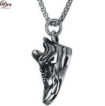 NFS Antique 316L stainless steel shoes pendant necklace personalized sports shoes modeling titanium steel men necklace(China)