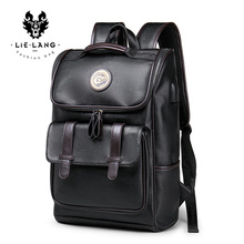 LIELANG Backpack Leather Men Laptop Travel Backpack 15inch Waterproof Laptop Backpack USB College Bookbag Men mochila hombre  (China)