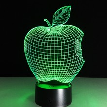 Apple Fruit Shape LED Night Light Novelty Lamp Changing Colors Xmas Home Decor Great Gift for Children Room Decorative Luminous