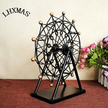 Creative Gift Movable Ferris Wheel European Style Living Room Decoration Crafts For Home Furnishing Retro Iron Wheel Model E407(China)