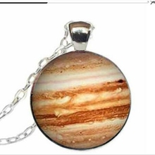 Free shipping Jupiter Necklace Glass Pendant Orange Planet Pendant Science Jewelry Geek Jewelry Space Necklace A-051