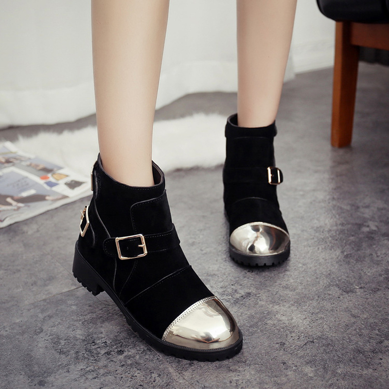 2016 autumn and winter new casual fashion woman Martin boots round metal buckle with low-heeled shoes<br><br>Aliexpress