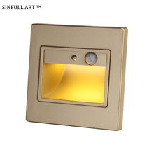 SINFULL ART 1.5W Sensor Detector Stair Light Recessed Human Induction Step Lamp 86 Box LED Wall Lamps Emergency Sconce Fixtures(China)