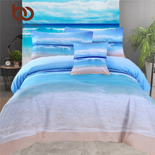 BeddingOutlet 5pcs Bed in a Bag Home Bedding Queen Size Beach 3d Duvet Cover Set Blue Bed Linen Wholesale Bed Set