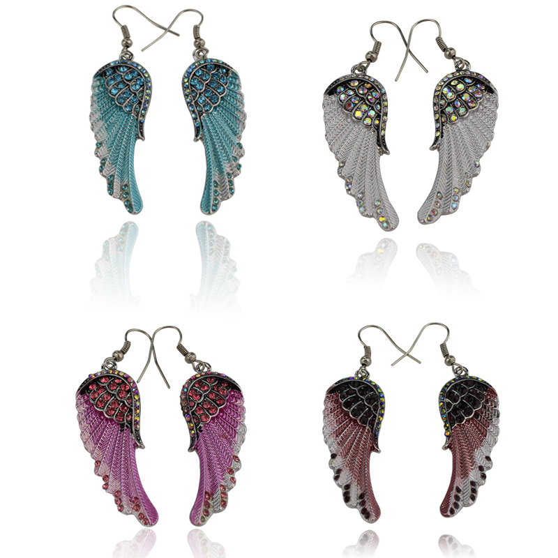 2017 Angel Wings Dangle Earrings Antique Silver Color W Crystal Women Biker Bling Drop Earring Jewelry Wholesale Dropshipping