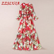 S-XL Sweet lily flower printed ruffles designer O neck flare sleeve slim long dresses 2017 new fashion spring women's dress 2811