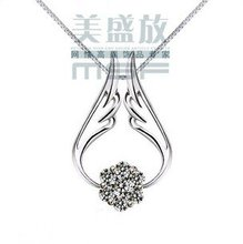 2016 angel wing shiny zircon crystal 925 sterling silver pendant necklaces jewelry drop shipping