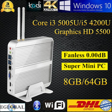 Mini Computer Fanless PC Windows 10 Linux Intel Core i5 4200U 8GB DDR3L 64GB SSD Intel HD 4400 5500 Graphics Thin Client XBMC(China)