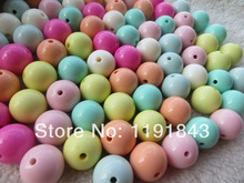 Kwoi vita Pale Solid Beads Mix Colorful Easter Mint Color Chunky 20MM 100pcs Acrylic Solid Gumball Beads for Chunky Necklace(China)