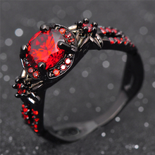 Fashion Flower Shiny Red Ring Red Garnet Women Charming Engagement Jewelry Black Gold Filled Promise Rings Bijoux Femme RB0435(China)