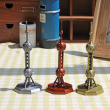 Oriental Pearl TV Tower Metal Carft Furnishing Articles Shanghai Souvenirs Model Office Desk Decoration Accessories(China)