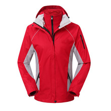 Outdoor clothing female hiking jacket two piece wind rain mountaineering wear warm clothes(China)