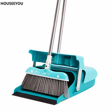 Duo-Pan Dustpan & Lobby Broom Combo 3 Foot Overall Height Blue (81*31CM) Convenient Brooms & Dustpans Household Cleaning Product