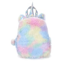 New Fashion Cute Plush Unicorn Rabbit Shaped Cartoon Bagpacks Leather Hologram Kawaii Women Girls School Bags Backpacks Mochila(China)