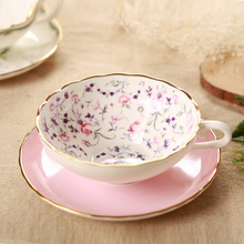 Derlook we for dg wood bone china cup tea cup fashion ceramic large coffee cup and saucer set(China)