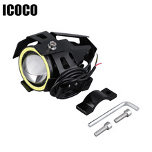 LED 12V New Arrivals 1pc 3 colors  High Power 125W U7 LED Motorcycle Spot Light Driving Headlight Fog Lam