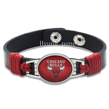 6pcs/lot! Chicago Basketball Genuine Leather Adjustable Bracelet Wristband Cuff 12mm Black Leather Snap Button Charm Jewelry