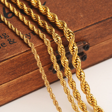 Buy 24k Gold color Filled Necklace Chain Men Women Necklace Bracelet Gold rope Chain Necklace High for $3.67 in AliExpress store