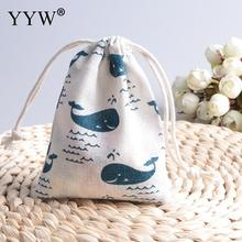 10pcs Cotton Blue Lingcod Dolphin Jewelry Beads Storage Bag Jewelry Pouches Rectangle Gift Bag(China)