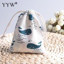 10 шт. хлопок синий lingcod Дельфин ювелирные изделия Бусины сумка для хранения ювелирных изделий Чехлы прямоугольник мешок подарка(China)
