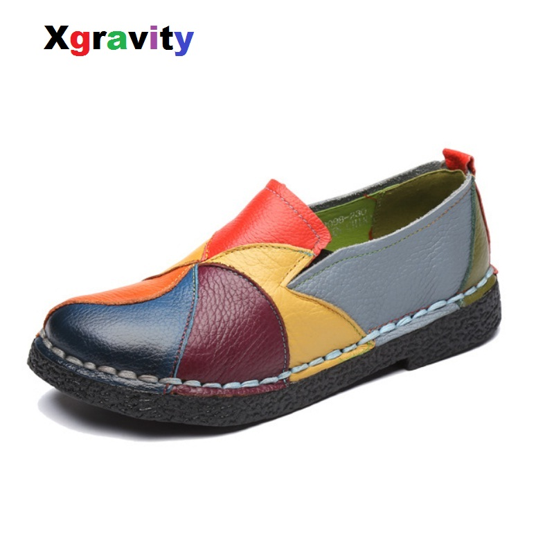 Xgravity Spring Autumn Lady Fashion Flat Shoes Elegant Comfortable Colorful Mixed Color Woman Genuine Leather Female Shoes C016<br>