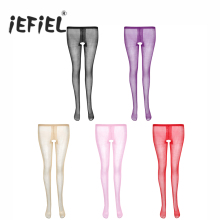 Buy iEFiEL 1 Pair Womens Sheer Crotchless Pantyhose High Waist Open Crotch Tights Shiny Silk High-waisted Stockings Lingerie Womens