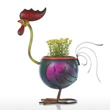 Tooarts Rooster Flowerpot Gift Home Decoration Metal Multicolor Crafts escultura Home Art Decoration Decor art sculpture Office