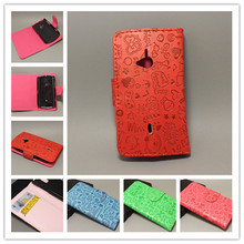 Magic Girl Cute Leather CaseCove with Holder Credit Card for Sony Ericsson Xperia Live Walkman WT19i free shipping