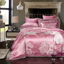 Big floral modal silk bed clothes 4pcs bedding sets pink red blue colors jacquard tribute silk bed linens luxury wedding 5824