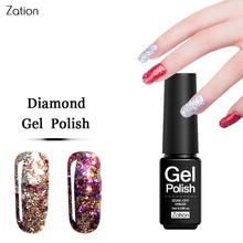 Zation Diamond Glitter Nail Gel Polish Bling Gel Lacquer Shimmer Nail Polish Sequin Varnish Base Nails Paint Top Coat Gel Polish(China)