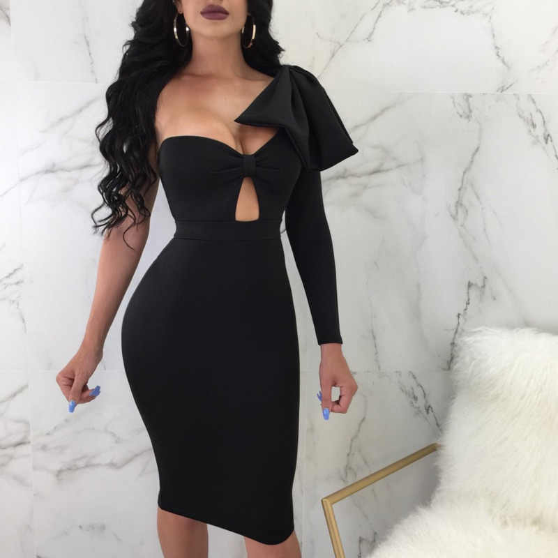 Detail Feedback Questions about One Shoulder Long Sleeve Dress Women Sexy  Strapless Bodycon Hollow Out Clubwear Party Dresses Vestidos De Fiesta Rz   on ... c09b2dacc96c